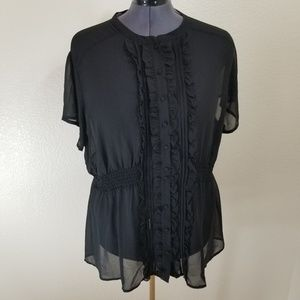 torrid Black Sheer Top with Front Ruffle Size 4